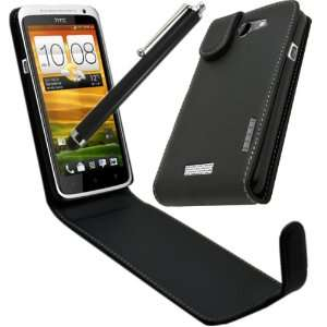 Pack   HTC One X   Black Specially Designed Leather Flip Case & Screen
