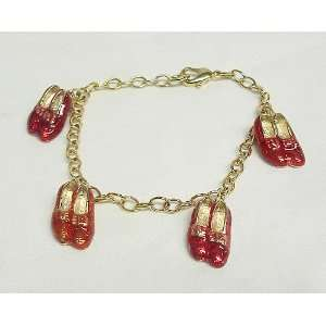 7.5 Collectible Gold Wizard of Oz Red Ruby Slippers Charm
