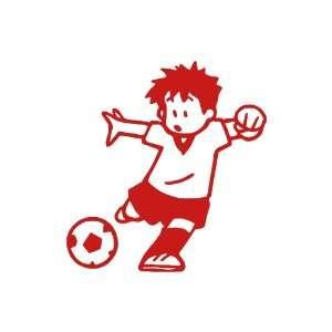 Soccer Boy Large 10 Tall RED vinyl window decal sticker