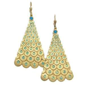 Catherine Popesco 14K Gold Plated Peacock Fan Dangle Earrings with