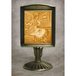 Sleep Tight Lithophane Mantle Stand Antique Brass
