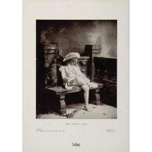 1904 Original Print Young Boy Lovers Seat Garden Byrne   Original