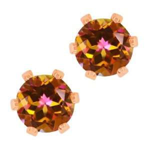 90 Ct Round Ecstasy Mystic Topaz Gold Plated 6 prong Stud Earrings