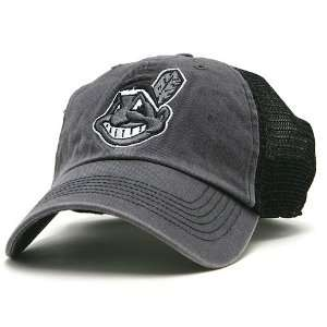 Cleveland Indians Foghorn Mesh Stretch Cap   Charcoal/Black FLEX FIT