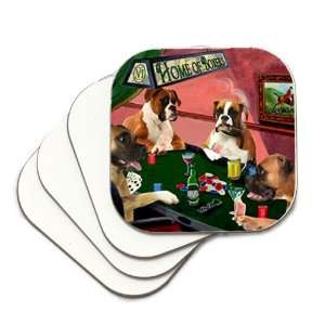 Boxers Coasters Four Dogs Playing Poker Set of Four: Kitchen & Dining