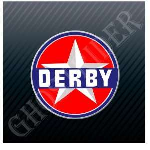 Derby Gas Oil Gasoline Station Fuel Pump Vintage Sticker