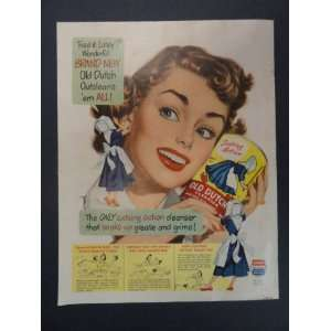 Old Dutch Cleanser. 1952 full page print advertisement. (woman blue