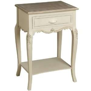CREAM BEDSIDE TABLE / DRAWERS IN A COUNTRY SHABBY CHIC STYLE BY CAAB
