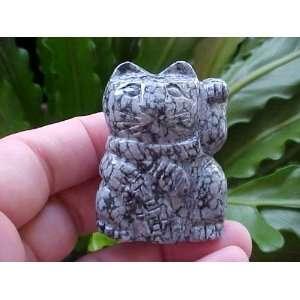 Gemqz Snowflake Obsidian Lucky CAT Left PAW Cute