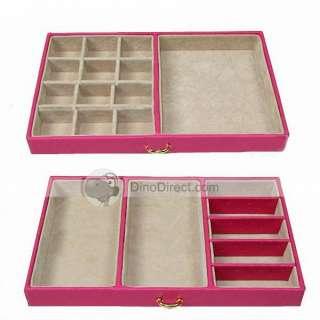 Classic Mirror Removable Tray PU Drawer Jewelry Box   DinoDirect