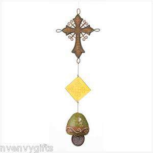 OLD WORLD CROSS AND BELL CHIME SPANISH TUSCAN GARDEN DECOR NV37307