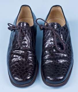 Vintage Laura Ashley Lace Up Oxford Crocodile Shoes 5