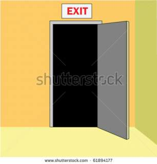 stock vector : Opened door out, with sign EXIT above, in corridor of a