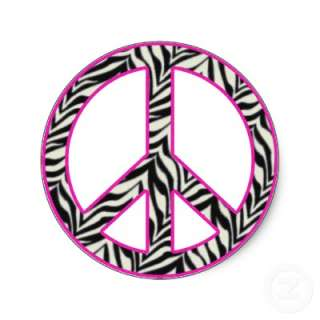 Zebra Print Peace Sign Sticker by SayItNow