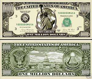 ONE MILLION DOLLAR BILL NOVELTY/PLAY MONEY *MINT*