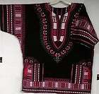 African Women Men Dashiki Shirt Blouse Black Fuchsia No