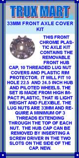 FRONT HUB CAP, 10 THREADED LUG NUT COVERS AND PLASTIC RIM PROTECTOR