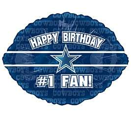 HAPPY BIRTHDAY #1 FAN! DALLAS COWBOYS NFL FOOTBALL LOGO 18 BALLOON