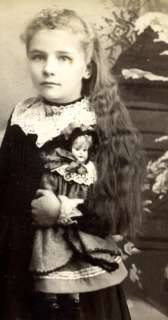 1800s CC PHOTO LONG HAIR WEALTHY GIRL w VINTAGE DOLL