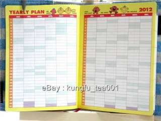 2012 Mr.Happy Schedule Monthly Weekly Planner Organizer Diary w Cotton