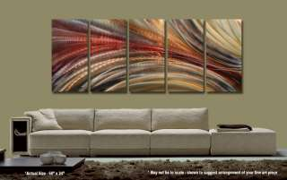 Huge Metal Abstract Earthtone Wall Art Hand Painted Aluminum Sculpture