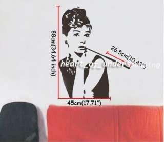 Removable Audrey Hepburn Black Vinyl Paper Mural Wall Sticker Decal