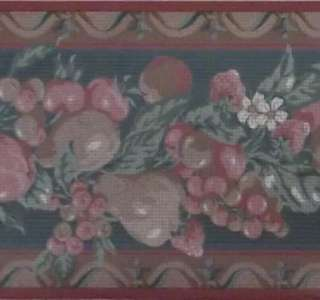 Country Kitchen Wallpaper Border Apple Pear Berries Red