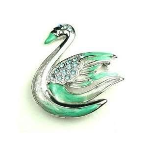 Blue Austrian Rhinestone Swan Silver Tone Brooch Pin Jewelry