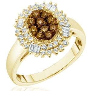 Chocolate Brown Diamond Cluster Ring Yellow Gold.78 CT