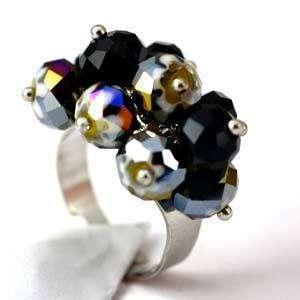d8178 Black Wedding Cluster Crystal Gems Beads Adjustable Ring Fashion