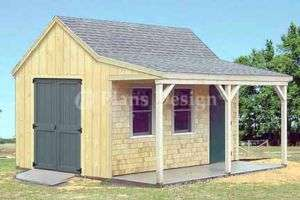 12 x 16 Cottage / Cabin Shed With Porch Plans #81216