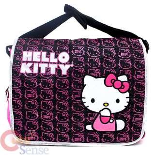 Kitty School Messenger Bag  Mini Faces / Pink Black Diaper Bag