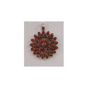 SILVER RED CORAL PENDANT ROUND JEWLERY NECKLACE