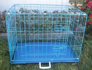 42 2 Door Blue Folding Dog Crate Cage Kennel LC ABS 814836017510