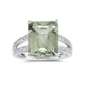 Emerald Cut Green Amethyst and Diamond Ring 10k White Gold Jewelry