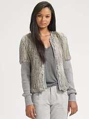 Haute Hippie Rabbit Fur Knit Jacket