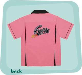 CRUISIN w/FLAMES PINK/Black CLASSIC retro bowling shirt pleats Cute 4