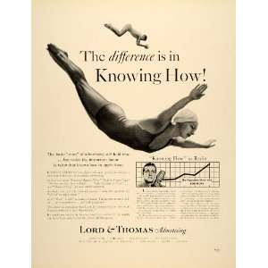 1939 Ad Lord Thomas Advertising Swimming Dive Bob Hope