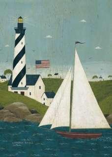 Coastal Breeze Sailboat Lighthouse Summer Lg Flag