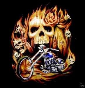 FLAMING SKULL BIKER CHOPPER FLAME MOTORCYCLE T SHIRT 19