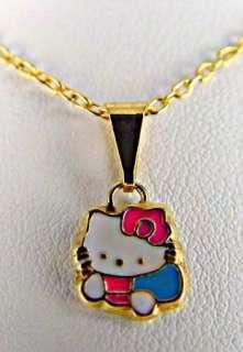 Set Enamel Hello Kitty Gold 18k GF Earrings Bracelet Necklace Pendant