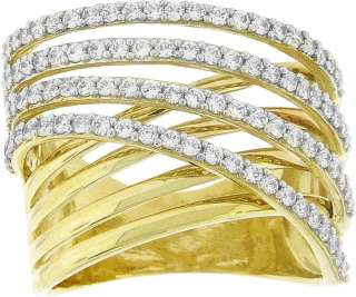 LADIES 10K YELLOW GOLD CZ CRISS CROSS FASHION RING