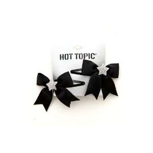 Black Ribbon Bow Bling Star Hair Clips 2 Pack Beauty