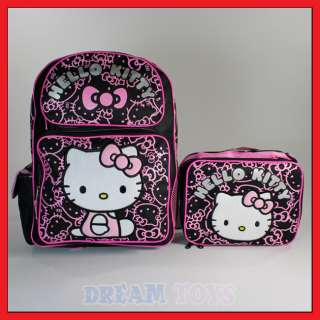 Hello Kitty 16 Black Glitter Backpack and Lunch Bag Set   Girls LARGE