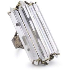 Low Luv by Erin Wasson 14k Plated Triple Crystal Cocktail Ring, Size 7