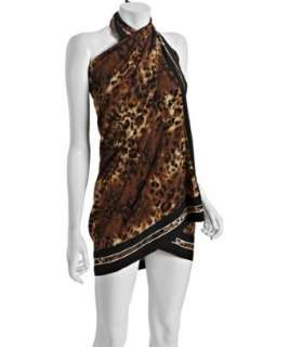 Carmen Marc Valvo black leopard print Midnight Safari coverup pareo