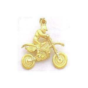 14k Gold Dirt Bike with Rider Pendant [Jewelry]