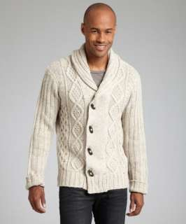 Projek Raw oatmeal wool blend cable knit toggle cardigan sweater