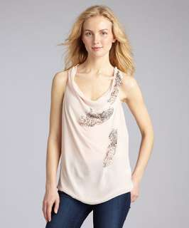 robbi & nikki pale pink chiffon beaded cowl neck tank blouse