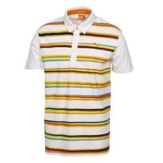 Puma Golf Mens Lightweight Striped Golf Polo   White / Orange 0r